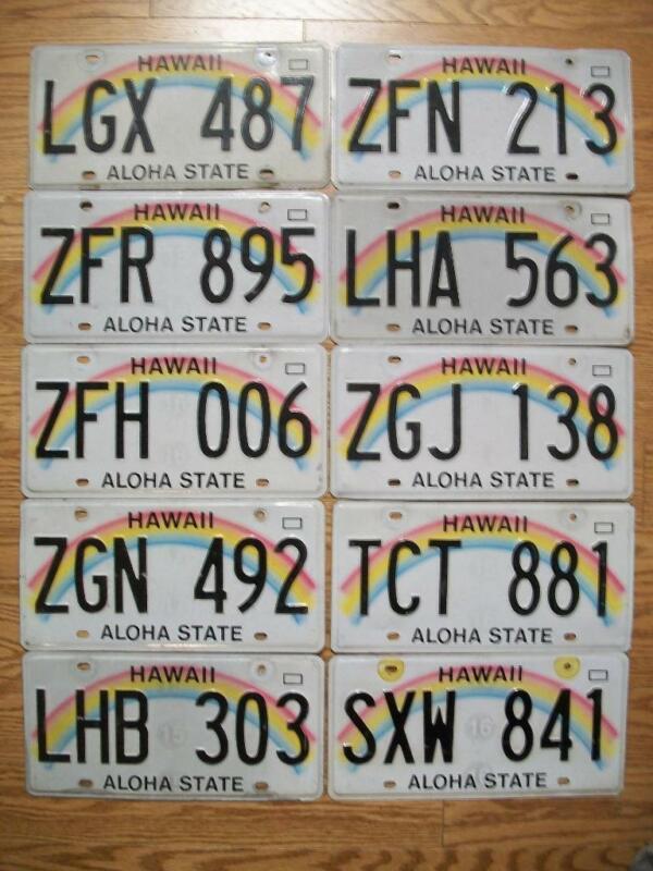 LOT of 10 HAWAII LICENSE PLATES - 1991 Base plates - RAINBOW - ALOHA STATE