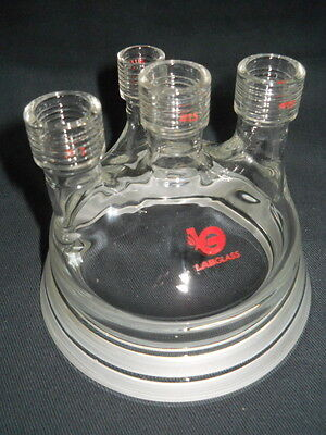 Lab Glass 15 11 Thread 4-neck Reaction Vessel Lid Head 100mm Conical Flange