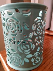 Duck egg blue metal rose cut tealight votive