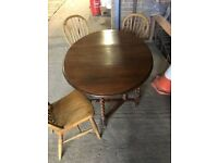 gateleg table and 3 chairs