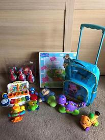 Bundle of baby and kids toys - vetch sing piano, leapfrog alphabet train, Disney skittles