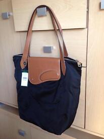 AUTHENTIC Ralph Lauren Black Fabric & Leather Tote Shopper Bag RRP £120