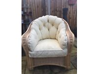 Conservatory wicker armchairs, comfortable and clean -fire safety labels attached