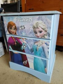 SET OF DRAWERS WITH DISNEY FROZEN DECORATION AND CRYSTAL HANDLES