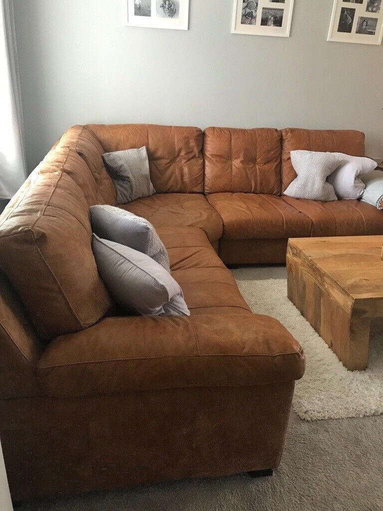 Amazing Tan Leather Corner Sofa Chair And Foot Stool In Tayport Fife Gumtree Creativecarmelina Interior Chair Design Creativecarmelinacom