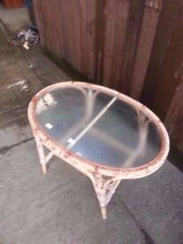 Table oval wicker outdoor glass delivery available