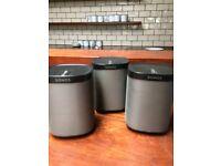 3 Sonos Wireless Speakers with Wall Brackets