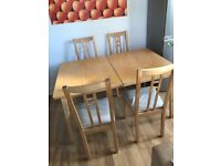 Ikea Nygard extendable dining table and 4 chairs
