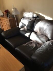 Sofas and reclinerchair, brown leather. 2 x 2 seat sofas with matching recliner armchair.