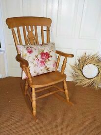 Large solid chunky pine FARMHOUSE Padgett ROCKING CHAIR