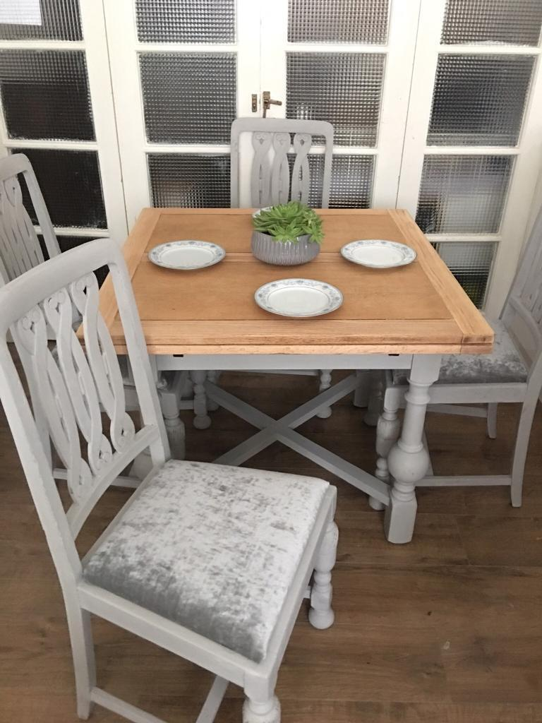 SOLID OAK TABLE AND CHAIRS FREE DELIVERY LDN 🇬🇧SHABBY chic
