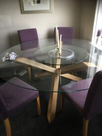 Stunning oak and glass 7ft table