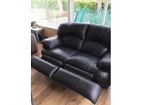 Lovely Black Leather 2 Seat Recliner Great Condition Very Comfy