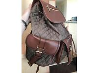 New Accessorize brown and khaki quilted Rucksack Handbag bag