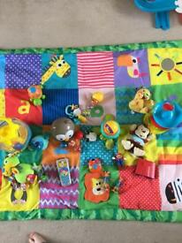 Large play mat and toys