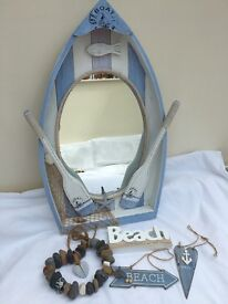 Beach themed boat shaped mirror and accessories
