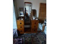 Vintage Solid Oak Make-Up Vanity Dresser with 3 Fold Mirror Set, 4 Drawers & 2 Small Cupboards
