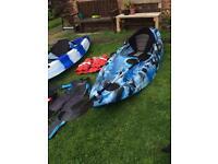 2x fishing-recreational kayaks,pfd,wetsuit,paddles,cart-trolley