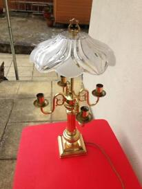 Beautiful brass table lamp with glass shade