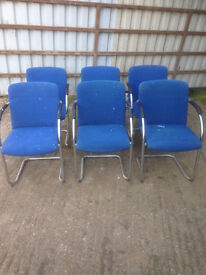 Blue Fabric Cantilever Chairs, Poor Condition (6 Available)