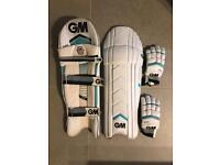 Cricket: Gunn and Moore Batting pads and gloves.