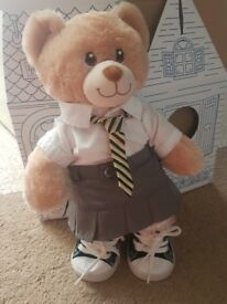 light brown Build a bear teddy with school uniform