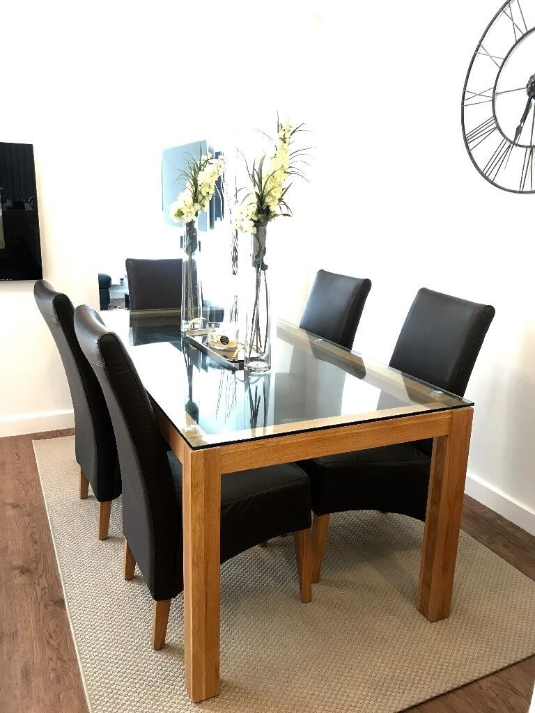 Modern Glass Dining Table Set (6 Leather Chairs) For Sale