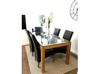 Modern Glass Dining Table Set 6 Leather Chairs For Sale