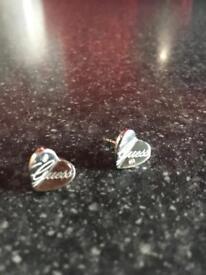 Guess Silver Heart Earrings