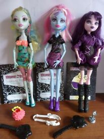 Lagoona Blue, Abbey & Elissabat, Diaries & Accessories Monster High Toy Bundle.
