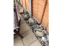 Large and small decorative pebbles