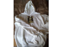 White hoodie with sci-fi front picture