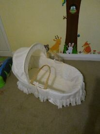 BABY MOSES BASKET- excellent condition, hardly used. Includes mattress