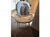 Baby high chair + Only 1 month old + Only used couple of times + Perfect Condition