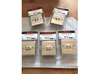 Brand new stainless steel twin toggle light switches box of 5