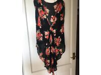 Topshop floral sheer waterfall back too size 10