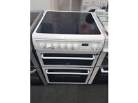 HOTPOINT CREDA 60CM CEROMIC TOP ELECTRIC COOKER IN WHITE. D