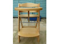 Wooden adjustable high chair with large food tray