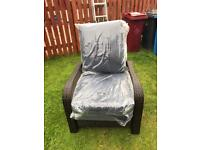 Garden reclining chair with navy blue cushions new