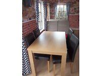HOME Pemberton Oak Veneer Dining Table & 4 Chairs-Chocolate