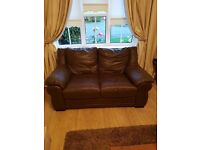 Brown leather 2 & 3 seater sofa