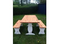Solid pine refectory farmhouse dining table and 2 matching bench set
