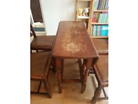 Oval drop leaf dining table and 4 chairs