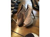 Beige suede effect shoe boots