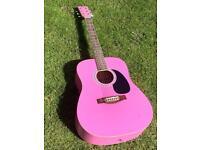 Rikter Pink Full Scale Acoustic Guitar