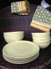 Dinner plates. Bowls and table mats