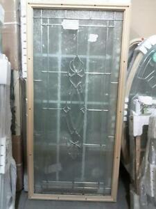 "22"" x 48"" Door Lite  Panama - Tan Frame/Platinum Caming by Specialty"