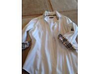white ladies burberry shirt size small