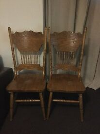 Solid pine carved chairs