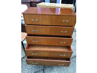 Nice Retro Mid Century Vintage Teak Tallboy Chest of 5 Drawers 1960's Here we have a charming vi